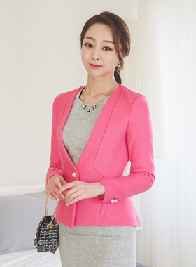 Gold ring pearl button wool jacket Slim