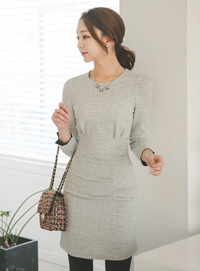 Pearl Ruched Dress pinch-Tweed