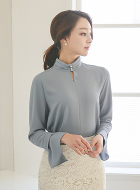 Pearl Neck Ruched Slit Blouse