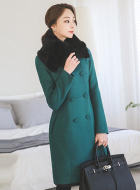 Highneck Slim Coat Black Fur