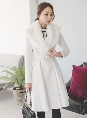 Real Rabbit fur wool coat ring belt Flare