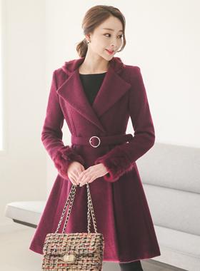 Luxury angora wool coat fur trim