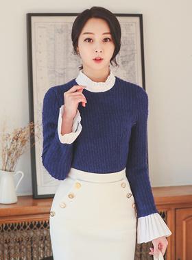Pleats Blouse color combination hajji Knit