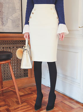 Luxury gold buttons Mariner Skirt