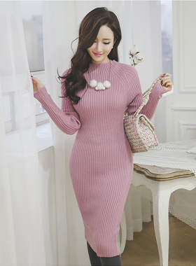simple nagrang half Knit Dress Pola