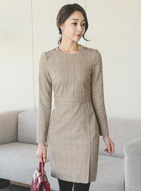 Herringbone Check Wool Dress