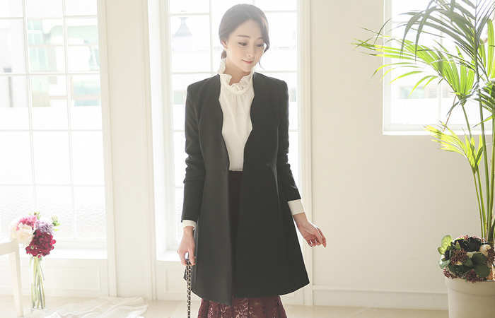 Wave Line Chain Belt Long Jacket
