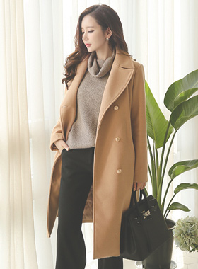 Hilda gold button wool coat Trench