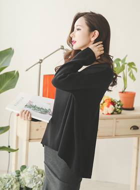 Marion simple V-neck Long Knit