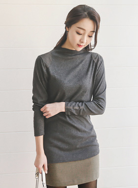 Long tee Highneck Suede Patch