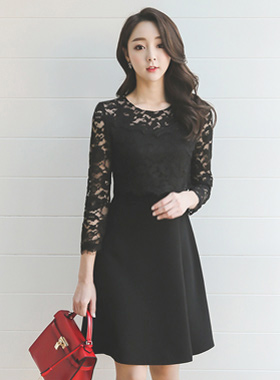 Lace top pinch Flare Dress