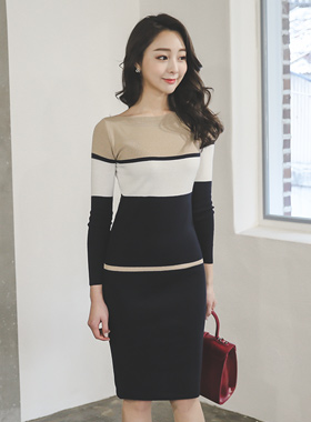 Basic Boat Neck Knit Dress