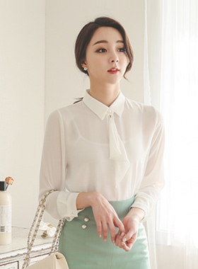 Ruffled Tie Blouse pearl buttons