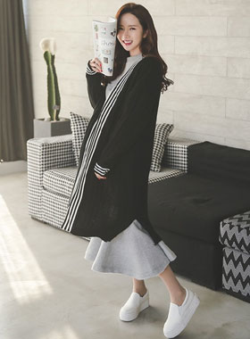 Sporty color combination Long cardigan