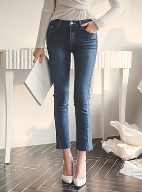 Cutting Semi Boot cut Denim Pants