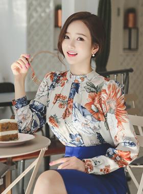 oriental Flower Silky Blouse