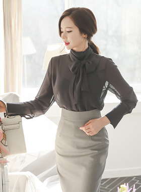 See-through look Scarf Long Blouse