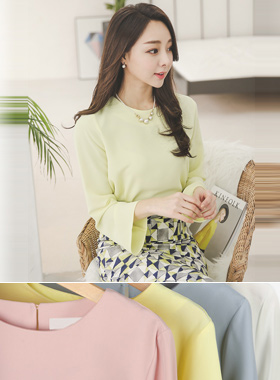 simple Round Natural Blouse