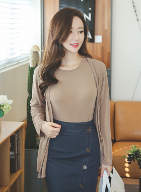 Natural Tencel Tower & Cardigan SET