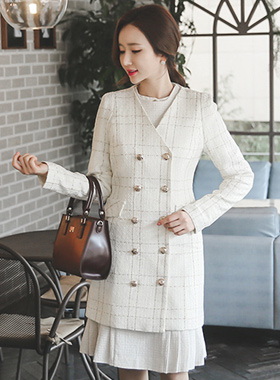 Double-button Gold Tweed Jacket