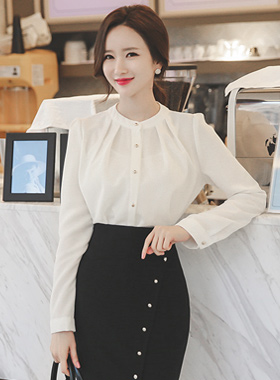 China Gold Ruched Blouse buttons