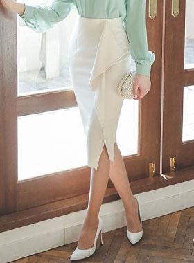 Elena Ruffle Skirt slit line