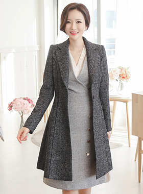 Piping Flare Jacket Tweed bokasi