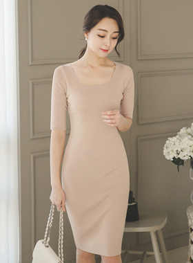 Basic Square Neck Knit Dress