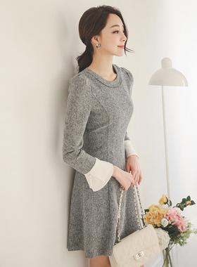 feminine pearl cuff Flare Dress