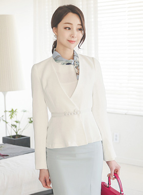 Pearl Line Belt Pleats Short Jacket