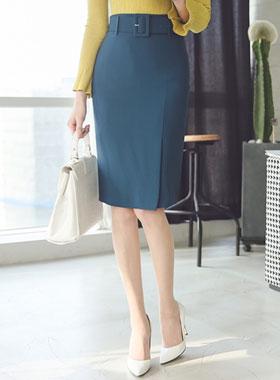 Modern Wide belt slit Skirt