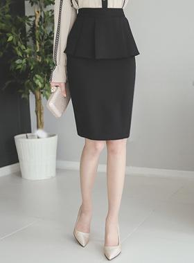 Pleats Slim Skirt Plum page