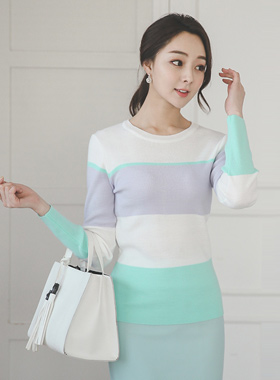 Macaron color combination Round Knit