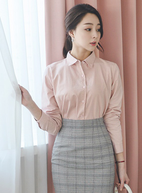 simple roll-up sleeves Cotton Shirt