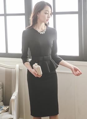 Lady Ribbon Belt Dress Plum page
