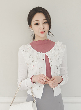 It rose pearl bowknot embroidery Cardigan