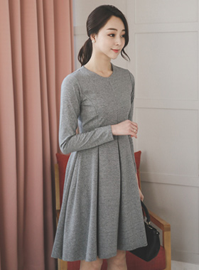 Gather simple Flare Dress