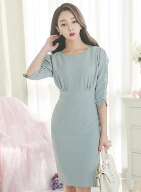 Pearl Dress Slit Sleeve