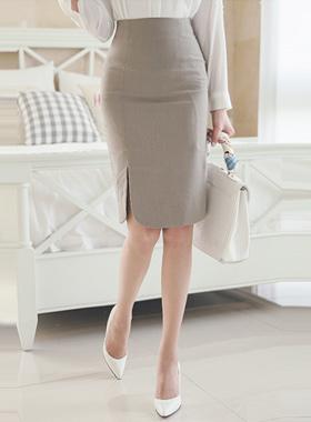 Cotton texture Slit Skirt