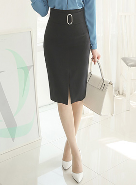 Silver wide band ring slit Skirt