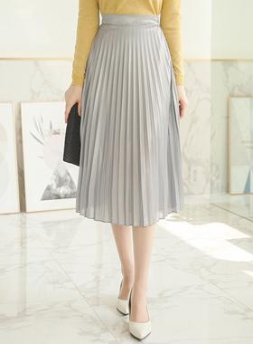Silky Shine Pearl Pleats Skirt