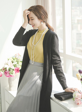 Shine Silver Pearl Long cardigan