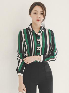 Refine Color Stripe Shirt
