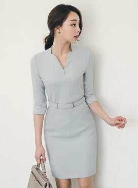 Diffie-stick model V-neck Dress belts