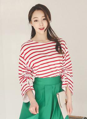 string Sleeve Stripe Tee