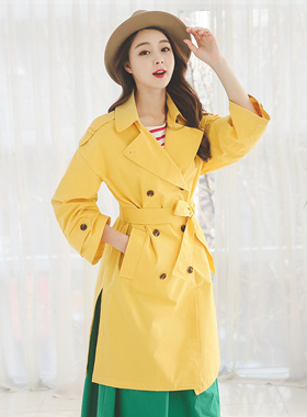 Vivid Color Rouge Trench Coat