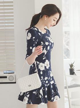 Vanilla Flower Ruffle Dress