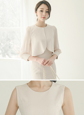 feminine Chiffon cape & Sleeveless Dress