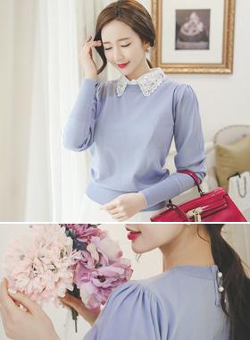 feminine Ruched Shoulder Round Knit