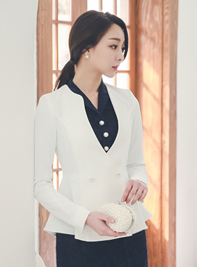 feminine Double-button Flare Jacket